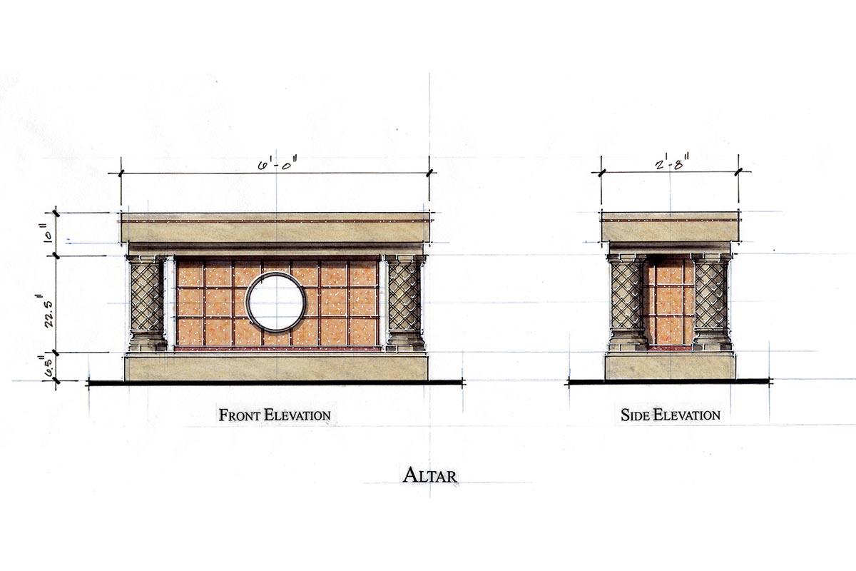 Floor Front Elevation Worship : Meleca architects llc the church of st edward