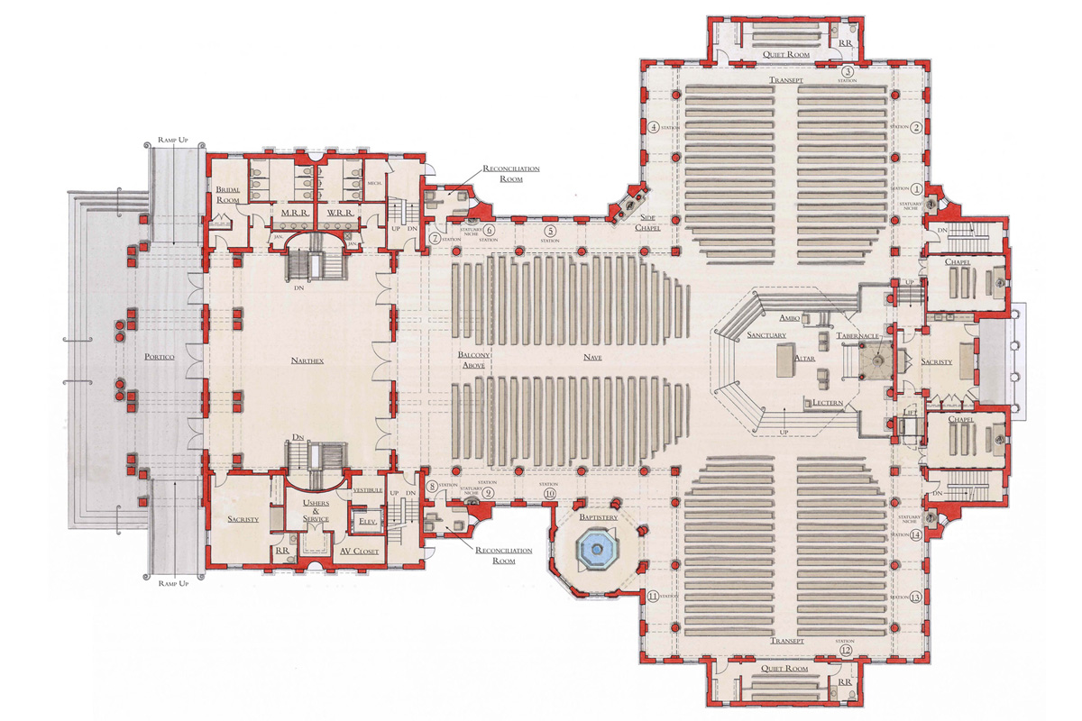 Catholic church floor plans images for Traditional church floor plans